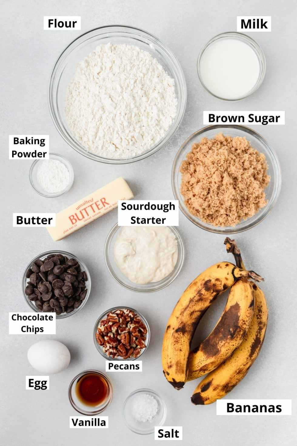 labeled shot of sourdough discard banana bread ingredients
