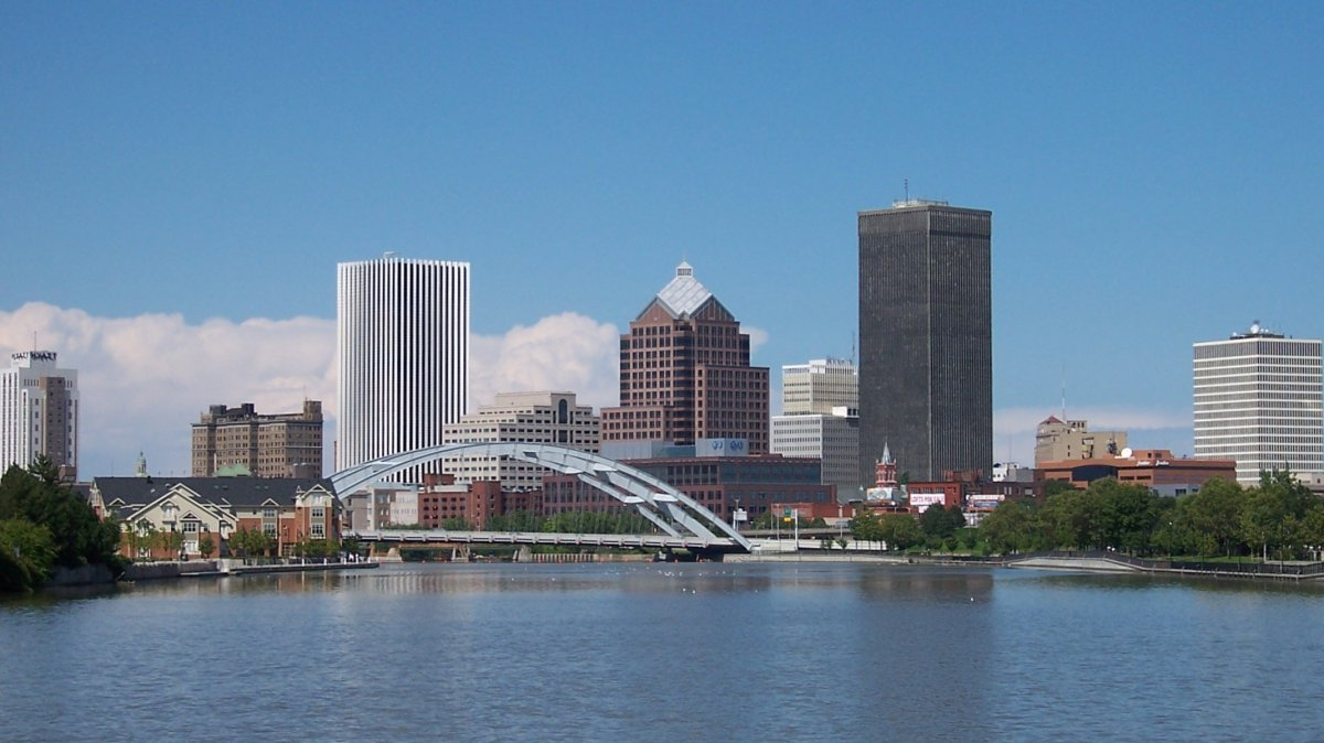 Rochester skyline, with the Genesee River in front.