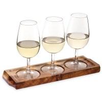 Utopia Acacia Wood Wine/Beer Flight | Wooden Serving Board ...
