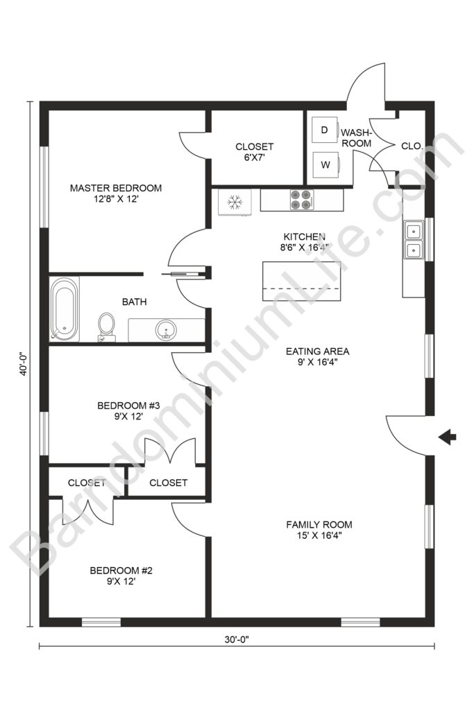 Stunning 3 Bedroom Barndominium Floor Plans