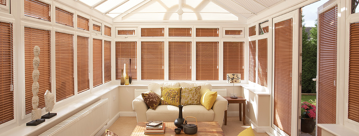 Stylish wooden blinds for your conservatory