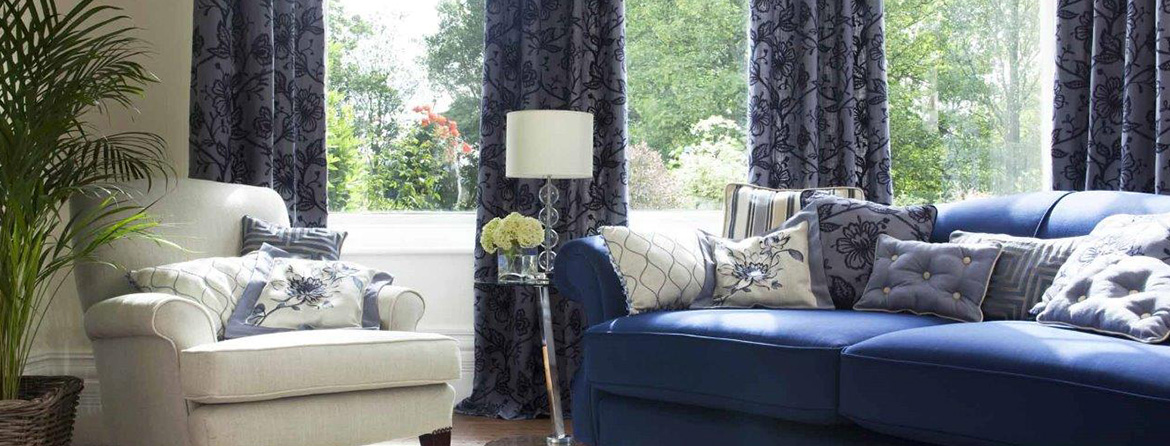 Colourful print curtains from Barnes Blinds in Stoke-on-Trent