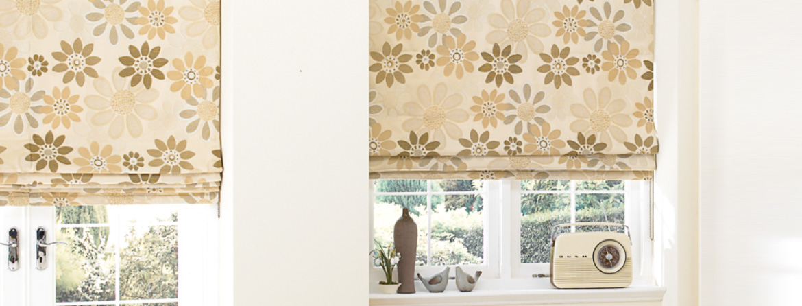 Designer roman blinds from Barnes Blinds in Stoke-on-Trent