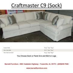 Bentley Sofa By King Hickory Chesterfield Historia Craftmaster C9 Sectional - Sock Arm, Skirt