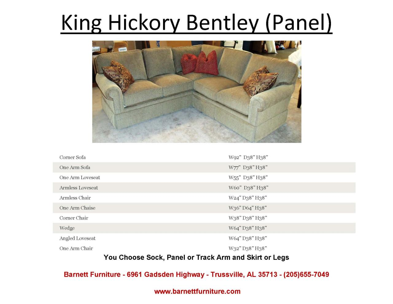 bentley sofa by king hickory corner low back barnett furniture sectionals