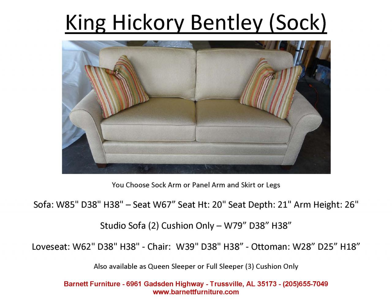 bentley sofa by king hickory standard length of a barnett furniture apartment size 72 quot 83
