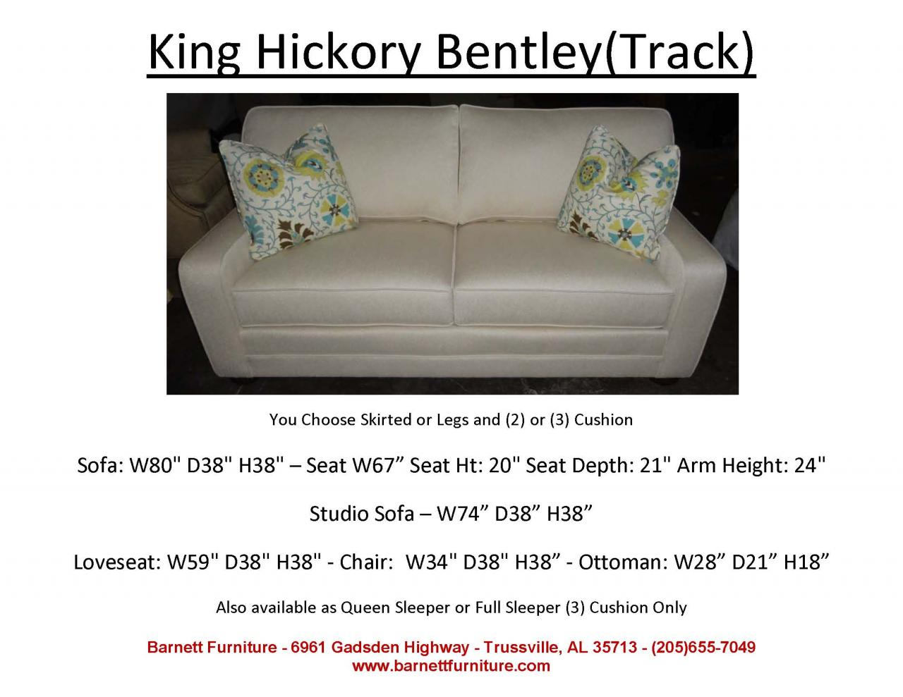 bentley sofa by king hickory how to decorate a lounge with red barnett furniture apartment size 72 quot 83