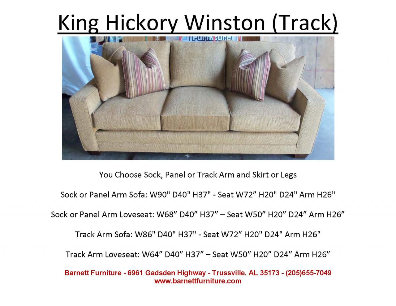 king hickory sofa winston cloth cover with track arm
