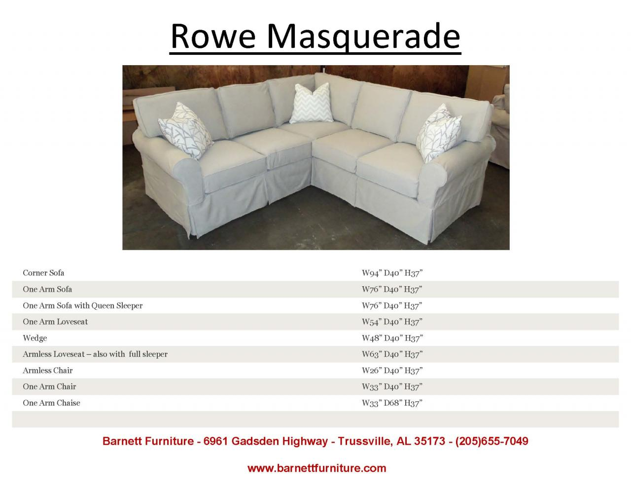 one arm sofa slipcover cover for with chaise barnett furniture sofas sectionals chair and ottoman rowe masquerade sectional
