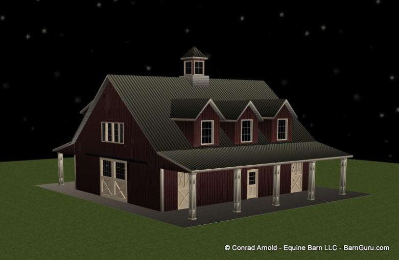 5Stall Horse Barn with 3 bedrooms Plans