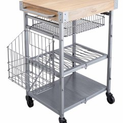 Wire Kitchen Cart Cost To Refinish Cabinets Kitchencraft Industrial And Mango Wood Folding Trolley With Butcher S Block
