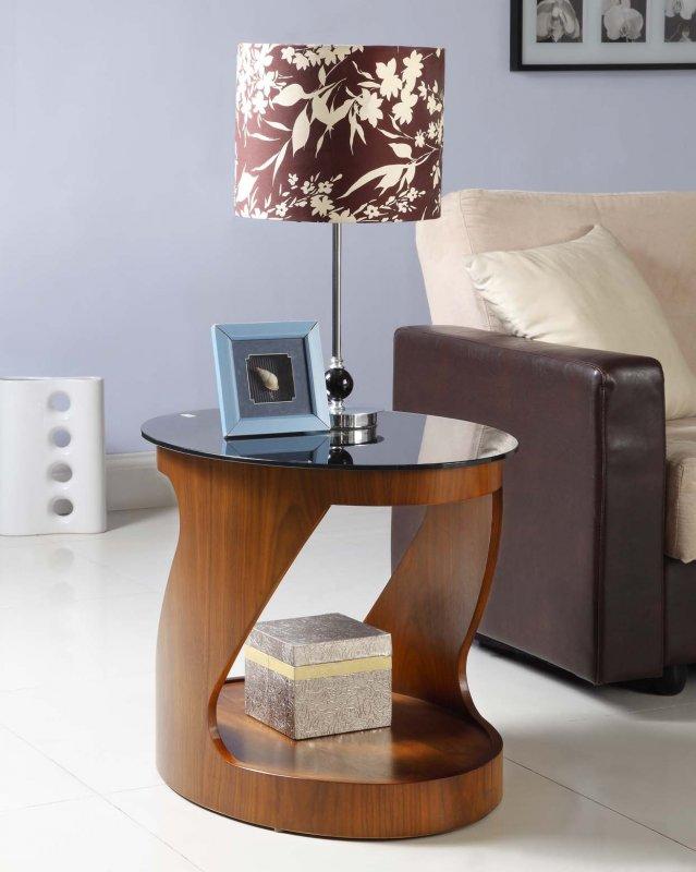Jual San Marino Walnut Amp Black Glass Curved Wood Oval Lamp