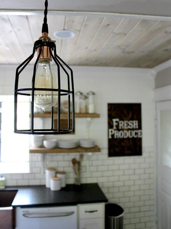 Minimalist Copper Cage Pendant Barn Light Electric