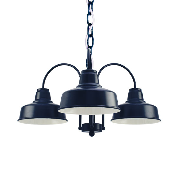 The Calico 3 Light Chandelier 705 Navy Swh Standard White Cord