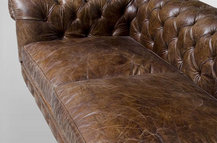 Chesterfield Luxus Echt Leder Sofa 4 Sitzer Vintage Leder