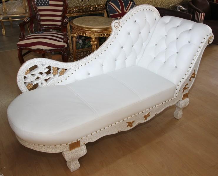 Barock Chaiselongue Wei  Gold  Echt Leder Chaise Lonque  Recamiere aus dem Hause Casa