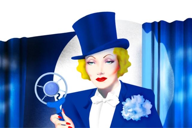 AKTRIS PENANTANG NAZI: Aktris Marlene Dietrich menjadi tema Google doodle hari ini untuk merayakan kelahirannya, 116 tahun silam. | Ilustrasi: Google