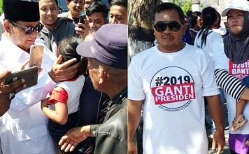 PRABOWO DISAMBUT HANGAT: Prabowo Subianto mendapat sambutan hangat dari masyarakat Blitar, beberapa di antaranya berkaus #2019GantiPresiden. | Foto: IST