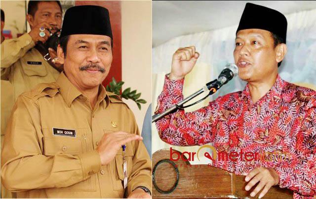 ADU TARGET: Moh Qosim (kiri) dan Muslih HS, adu target perolehan suara paslon Pilgub Jatim di Kabupaten Gresik. | Foto: Barometerjatim.com/IST/DIDIK HENDRIYONO
