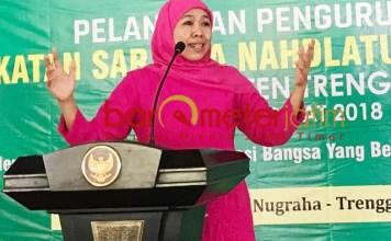 PUNYA BASIS KONSTITUEN: Khofifah factor dinilai akan mewarnai Pilkada serentak 2020, termasuk Pilwali Surabaya.   Foto: Barometerjatim.com/ROY HASIBUAN