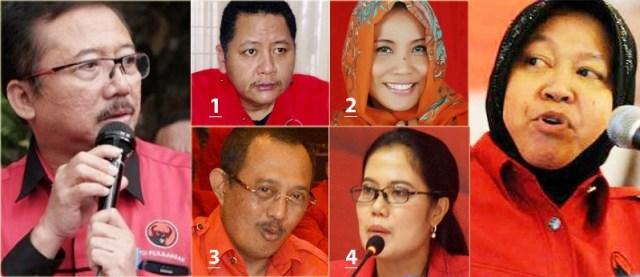 ADU KUAT BAMBANG DH-RISMA: Bambang DH (kiri) dan Risma, 'bisikannya' paling didengar Megawati. Para kandidat: Whisnu (1), Dyah Katarina (2), Armuji (3), Sri Untari (4). | Foto: IST