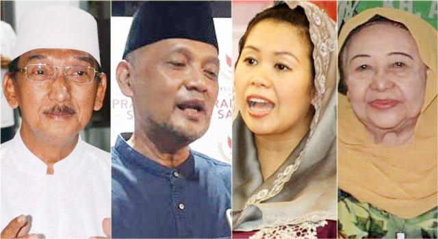 BEDA DUKUNGAN DI PILPRES 2019: (Dari kiri) Gus Hasib dan Gus Irfan di kubu Prabowo, Yenny Wahid dan Nyai Machfudhoh berada di pihak Jokowi. | Foto: IST