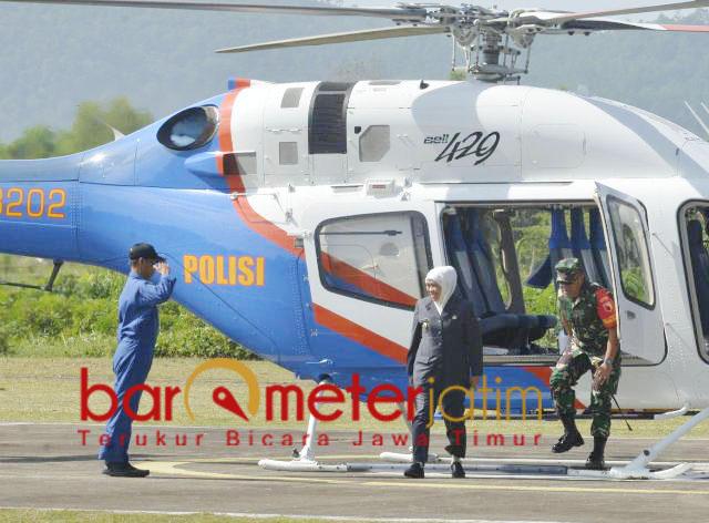 Khofifah dan Forkopimda Jatim naik helikopter tinjau kesiapan Pemilu 2019. | Foto: Barometerjatim.com/marjan