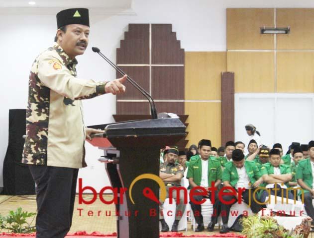 Kasatkornas Banser Alfa Isnaeni, gagal menembus kursi DPD RI.   Foto: Barometerjatim.com/roy hs