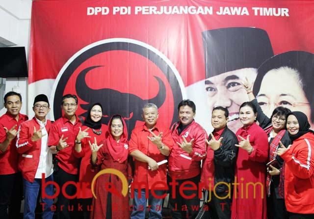 PDIP saat syukuran kemenangan Pileg 2019 di kantor PDIP Jatim, Surabaya.   Foto: Barometerjatim.com/roy hs