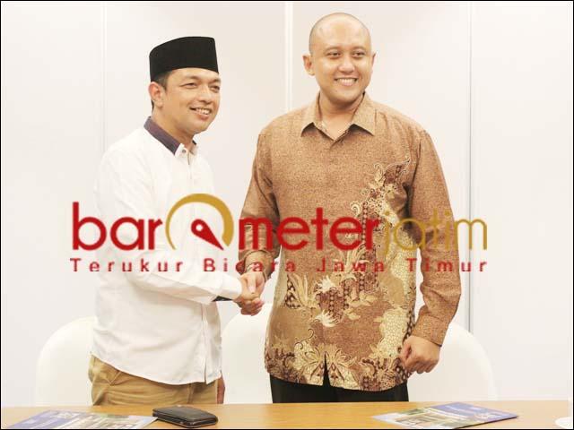 PENJAJAKAN: Gus Hans (kiri) dan Dhimas Anugrah, dua kandidat di Pilwali Surabaya 2020.   Foto: Barometerjatim.com/ROY HS