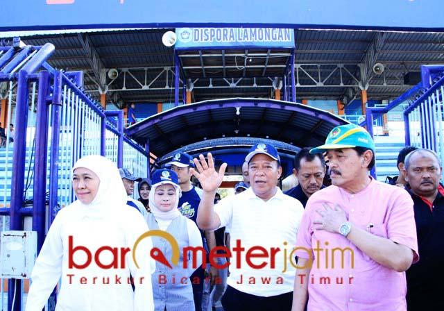 VENUE PORPROV: Khofifah tinjau kesiapan Stadion Surajaya Lamongan.   Foto: Barometerjatim.com/MARJAN AP