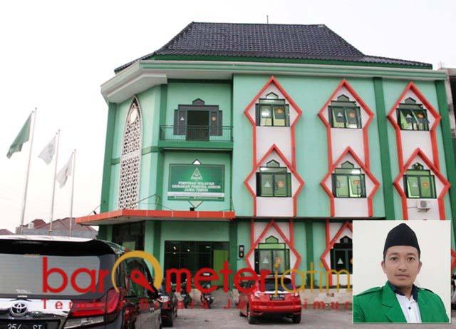 JELANG KONFERWIL: Gedung Ansor Jatim tunggu ketua baru. Inset: HM Nur Junaidi. | Foto: Barometerjatim.com/ROY HS