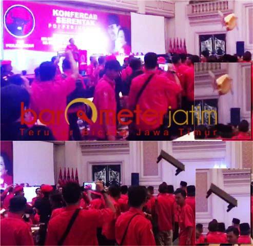 RICUH: KONFERCAB: Meja dan kursi melayang di arena Konfercab PDIP Surabaya. | Foto: Capture Video