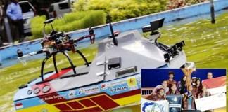 ITS JUARA DUNIA: Kapal robot Tim Barunastra ITS juara di AS. Inset: Selebrasi juara.   Foto: IST