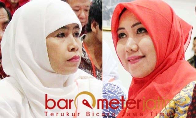 JANGAN BEBANI KHOFIFAH: Dwi Astuti (kiri) dan Lia Istifhama, disarankan memantaskan diri di Pilwali Surabaya.   Foto: Barometerjatim.com/ROY HS