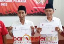 MENDAFTAR: Bi'in Abdussalam (kanan), ikut penjaringan PDIP untuk maju di Pilbup Lamongan. | Foto: Barometerjatim.com/HAMIM ANWAR