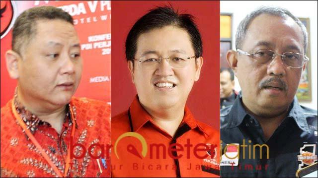 PILWALI SURABAYA: (Dari kiri), Whisnu Sakti Buana, Eddy Tarmidi dan Armuji. Siapa dipilih Megawati? | Foto: Barometerjatim.com/ROY HS/IST
