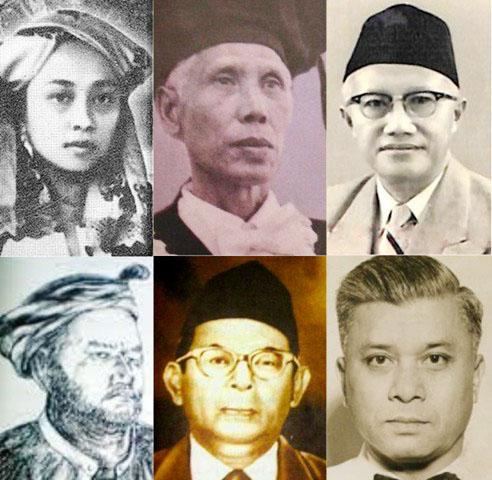 PAHLAWAN NASIONAL: (Atas) Ruhana K, Sardjito, KH Masjkur. (Bawah) Sultan H, Kahar M, AA Maramis. | Foto: IST