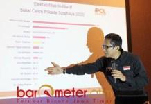 PILWALI SURABAYA: Petrus Haryanto, membeberkan hasil temuan IPOL Indonesia. | Foto: Barometerjatim.com/ROY HS