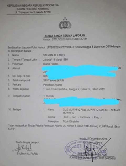POLISIKAN GUS MUWAFIQ: FPI kembali laporkan Gus Muwafiq. Ini laporan kali keduake BareskrimPolri. | Foto: IST