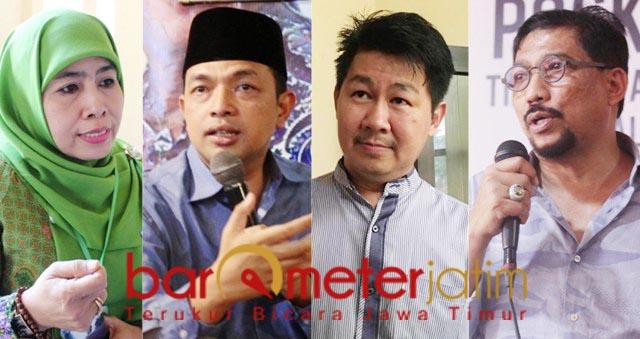 SIAPA DIPILIH NASDEM?: (Dari kiri) Dwi Astuti, Gus Hans, Awey, Machfud Arifin. | Foto: Barometerjatim.com/ROY HS