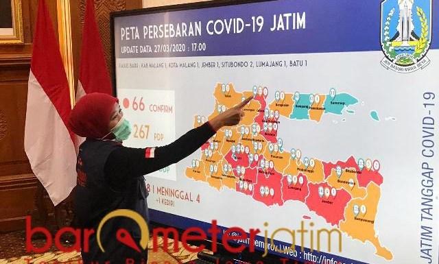 CORONA MELUAS di JATIM: Khofifah saat mengupdate penyebaran virus Corona diJatim. | Foto: Barometerjatim.com/ROY HS