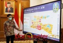 4 KABUPATEN MASIH HIJAU: Peta penyebaran virus Corona di Jawa Timur. | Foto: Barometerjatim.com/ROY HS