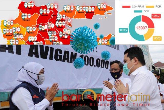 BANTUAN PUSAT: Mahfud MD dan Erick Thohir serahkan bantuan dan diterima Khofifah. | Foto: Barometerjatim.com/ROY HS