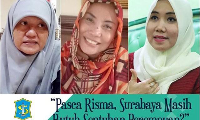 PILWALI SURABAYA: (Dari kiri) Reni Astuti, Dyah Katarina, Lia Istifhama, sejumlah kandidat dari perempuan. | Foto: IST
