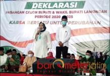 IJO-ABANG: Deklarasi PKB-PDIP usung Kartika Hidayati-Saim di Pilbup Lamongan. | Foto: Barometerjatim.com/MULANA