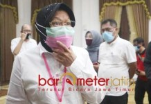 JANGAN TERGORES CORONA: Risma, 10 tahun pimpin Surabaya jangan tergores pandemi Corona. | Foto: Barometerjatim.com/ROY HS