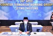 WAPADAI TERORISME: Boy Rafli Amar dalam pertemuan daring 16th APEC CTWG Meeting dari Surabaya. | Foto: Barometerjatim.com/ROY HS