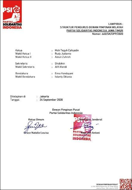 WENDI TAK LAGI PENGURUS: Pengurus DPW PSI Jatim, tak ada nama Wendi Arifiyanto. | Foto: Barometerjatim.com/IST