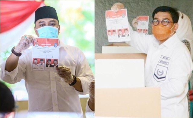 PILWALI SURABAYA: Eri Cahyadi (kiri) menang tebal atas Machfud Arifin versi quick count lembaga survei. | Foto: IST